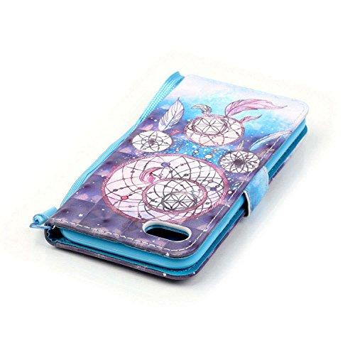 C-Super Mall-UK Apple iPhone 7 Plus hülle: exquisit gemalten 3D Muster PU-Leder Brieftasche Stand Flip hülle für Apple iPhone 7 Plus(Schwarzer Schädel) Three Levels Dreamcatcher