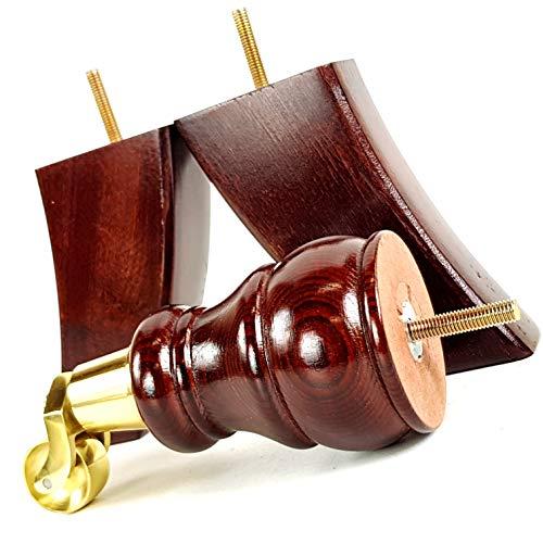 Knightsbrandnu2u 4x Holz Füße Ersatz Möbel Beine mit Rollen für Sofas, Stühle, Hocker, Sofa M8(8mm) cwc802 -