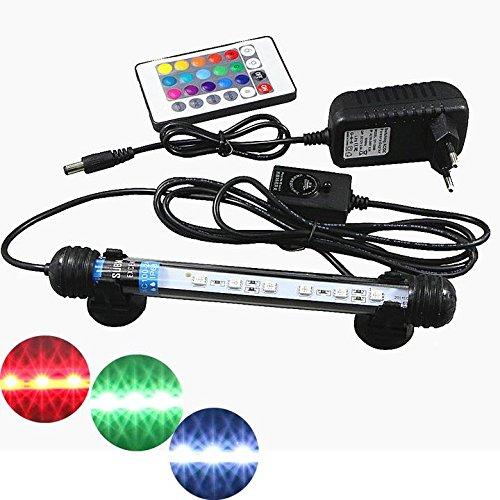 Mingdak Fernbedienung Aquarium-Licht-Kit LED für Aquarium, Unterwasser-Kristallglas-Leuchten geeignet für Salzwasser und Süßwasser, 6 LED, flexible Farbeänderungsbeleuchtung , 7,5-Zoll