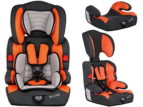 Autokindersitz Autositz Kinderautositz mit Extrapolster Kids 9-36 kg 1+2+3 ECE 4 Farben NEU Kindersafety NEU + ECE R44/04 geprüft, Farbe BLAU GRAU PINK ORANGE 5-Punkte-Sicherheitsgurt Kopfstütze verstellbar … (KP0039ORN)