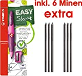 STABILO EASYergo 3.15 ergonomischer Druckbleistift für Rechtshänder, inkl. Spitzer / Set (Einzelstift + 6 Ersatzminen, pink/lila)