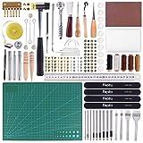 FEPITO 58 Stück Leder Handwerk Werkzeuge DIY Leder Nähen Werkzeuge für Hand Nähen Nähen Leder Handwerk DIY Werkzeug (Tools)