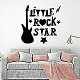 BailongXiao Lettrage Wall Decal Little Rock Star Décoration Garçon Chambre Guitare Électrique Enfants Chambre Vinyle Wall Sticker Salon 42x42 cm