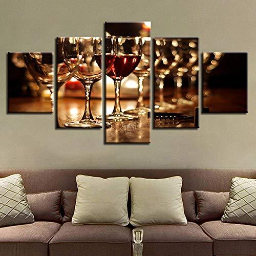 sanzx Modular Bild Wohnkultur Leinwand 5 Panel Glas Rotwein Malerei Höchstbewertete Wand Wohnzimmer Moderne Art Rahmenlose 30 * 40 * 2 30 * 60 * 2 30 * 80 cm Anpassbare - Art-glas-panel
