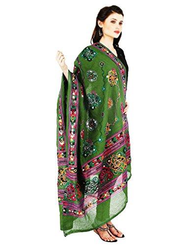 Vastraa Fusion Women's Cotton Dupatta (VASTRATS0088, Green)
