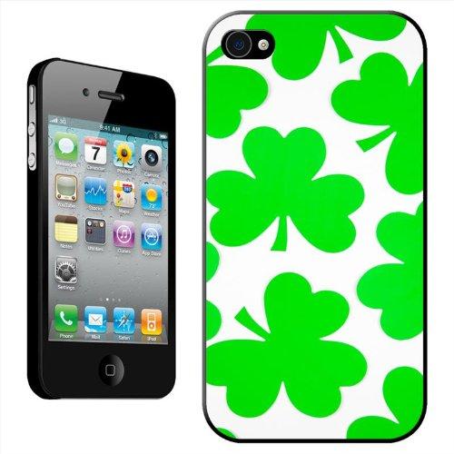 St Patrick Irlandais Shamrock 3feuilles Trèfle Porte-Bonheur Coque arrière rigide détachable pour Apple iPhone 4/4S