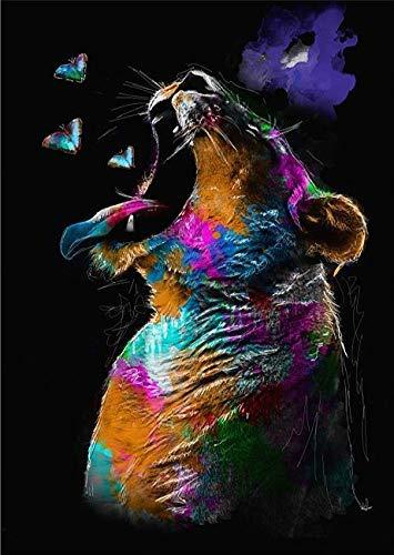 Rahmen-Kunst Keilrahmen-Bild - Sander Van Laar: Lion Leinwand-Bild Löwe Raubkatze Pop-Art modern bunt
