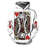 Corazón de las tarjetas gráficas 3D Hoodie hombres Imprimir Jugar Poker Rey Sudaderas Hip hop estilo Chándal encapuchados Pullover de moda el Rey Poker Imprimir M