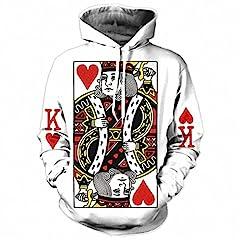 Idea Regalo - Cuore delle carte uomini Hoodie 3D Stampa Grafica giocando a Poker Re felpe Hip Hop stile tuta con cappuccio moda Pullover re Poker XL Stampa