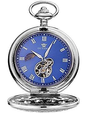 OUYAWEI Hand Wind 12/24 Stunde Sonne Mond Römische Ziffer Blaues Zifferblatt Mechanische Taschenuhr Fob Silber...