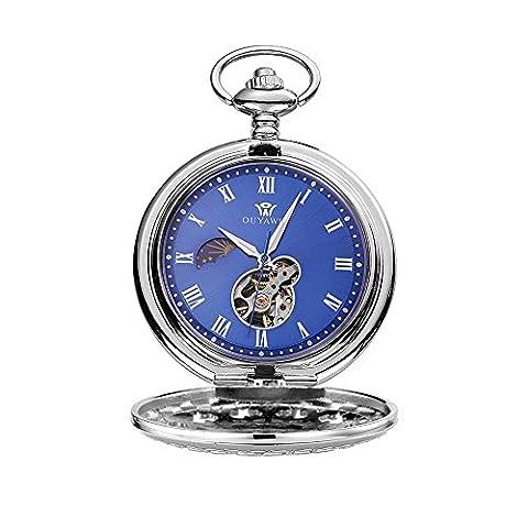 OUYAWEI Hand Wind 12/24 Stunde Sonne Mond Römische Ziffer Blaues Zifferblatt Mechanische Taschenuhr Fob Silber + Kette Geschenk