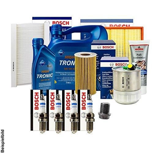 Bosch filtro + Velas + Junta + 5l Aral 5W-40Aceite + accesorios