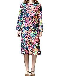 Kleider für Damen Langarm Kleid Maxikleider Blumenkleid Drucken Strandkleid  Vintage Abendkleid Rundhals Elegant Baumwolle Leinen Böhmischen 9bc55f302f