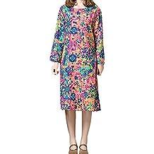 Challeng Vestido Largo Flojo de algodón y Lino con Estampado de Flores de Manga Larga para