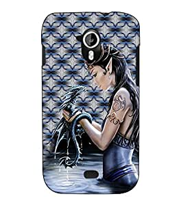 Fuson Designer Back Case Cover for Micromax Canvas HD A116 :: Micromax A116 Canvas HD (A lady with an animal theme)