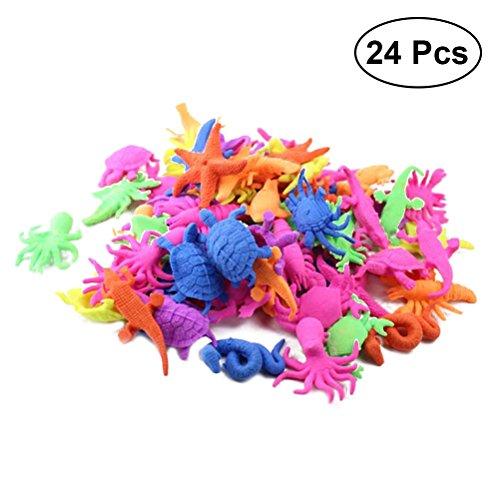 TOYMYTOY Cultivo de animales   Juguetes de criaturas marinas - Animales marinos en miniatura - Paquete de 24, favores de fiesta bajo el mar