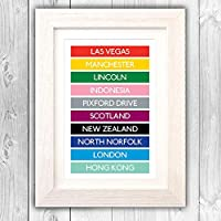 Travel gift personalised London underground destination list/birthday present/favourite places list/traveling gift/list of places visited/scratch map alternative VA043