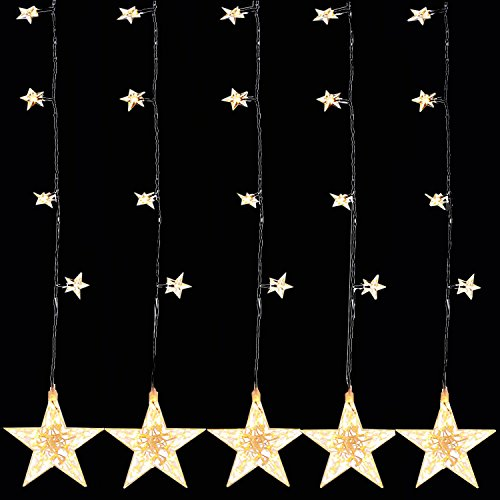 LED-Sternenvorhang Sternenkette Fensterbeleuchtung Lichtervorhang 100 warm-weißen Lichtern