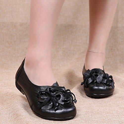 MatchLife Femme Vintage Cuir Plate Escarpins Floral Chaussures Style4-Noir