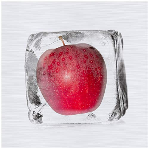Wallario Aluminiumverbund, Bild auf Aluminium, Roter Apfel in Eiswürfel - Eiskaltes Obst - 50 x 50 cm in Premium-Qualität: gebürstete Oberfläche, freischwebende Optik