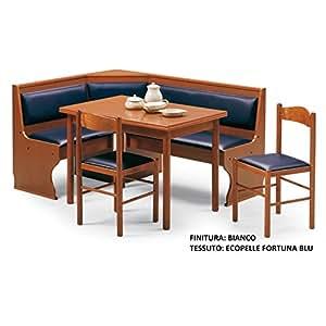 Panca mod em92 angolare con tavolo e due sedie bianco for Panca angolare con tavolo