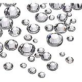 1000 Pièces Pierres Strass Transparent Pierres de Strass Rond Crystal Gems de 1.5 mm - 5 mm, 5 Tailles