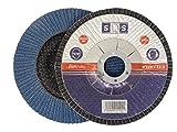 SBS Fächerscheiben | ø 125 mm | Korn 60 | 10 Stück | INOX Blau für Winkelschleifer Schleifmop