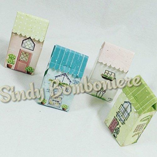 Scatoline bomboniere portaconfetti 4pz confettata per battesimo nascita compleanno bimbo bimba a forma di casetta assortita (bomboniera fai da te 4pz)