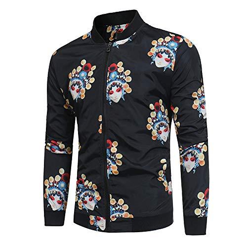 Celucke Herren Bomberjacke Collegejacke mit Chinesische Peking-Oper Muster,Freizeit Herbst Winter Leichte Jacke Slim Fit