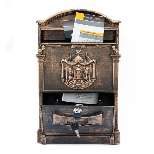 ZNL Briefkasten Postkasten aus Aluguss Antiker Wandbriefkasten XBX03 Antik-Gold - 7
