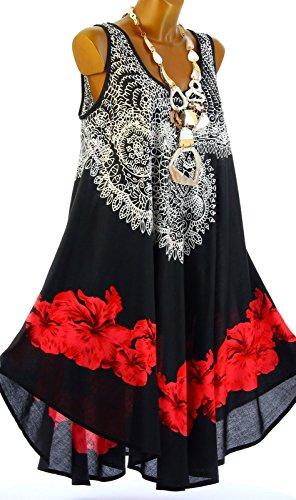 Charleselie94® - Robe été asymétrique bohème grande taille noire AUDELIA NOIR Noir