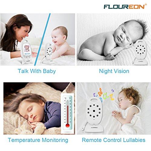 FLOUREON Babyphone mit Kamera Digital Video Baby Monitor Gegensprechfunktion 2-Wege Audio Überwachungskamera Nachtsicht 8 Schlaflieder Temperatursensor - 4