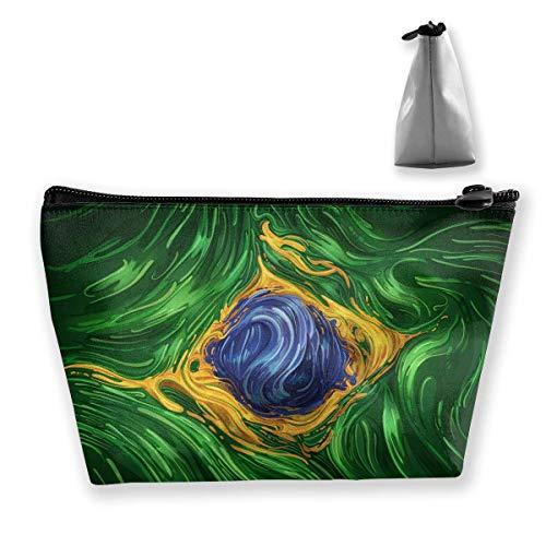 Brasilien Flagge Psychedelic Federmäppchen Stift Reißverschlusstasche Münze Organizer Makeup Costmetic Aufbewahrungstasche Beutel