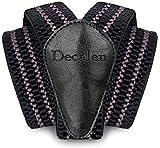 Decalen Hosenträger für Herren breit extra starken Clips Y Form Lang Eine Größe Passt Alle Männer und Damen Verschiedenen Farben (Schwarz Grau)