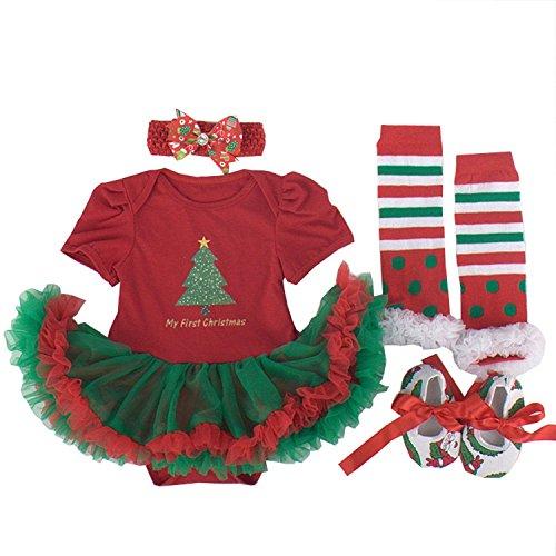 BabyPreg® Baby Mädchen mein erstes Weihnachten Sankt Kostüm-Partei-Kleid 4PCS (XL12-18 Monate, Weihnachtsbaum)