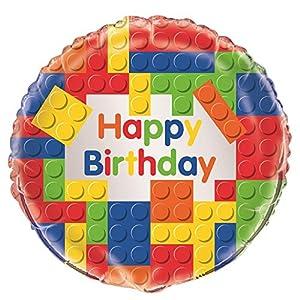 Unique Party- Globo Foil: Fiesta de Cumpleaños de Bloques de Construcción, Multicolor, 45 cm (58247)