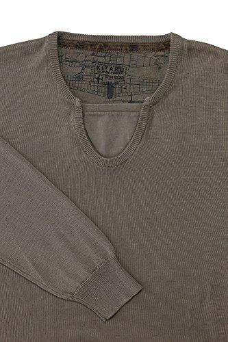 Kitaro Pullover Herren Langarm Baumwolle Feinstrick Braun