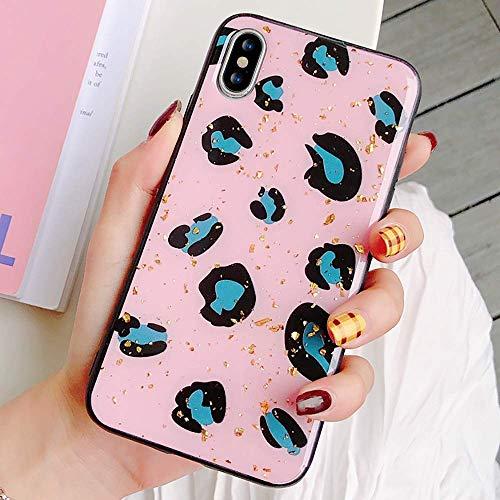 LCHULLE for iPhone XS Max Mädchen Hülle Super Mode Tier Leopard gedruckt Hintergrund-Fall Stylische Bling Glitter Silikonhüllen Schlank dünn Schützend Gel Skin Cases Abdeckungen-Pink