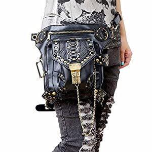 51UCVK7DmqL. SS300  - FiveloveTwo® Men Women Multi-purpose Tactical Drop Leg Arm Bag Pack Hip Belt Waist Messenger Shoulder Fanny Packs Steampunk Bag Wallet Purse Pouch Bag