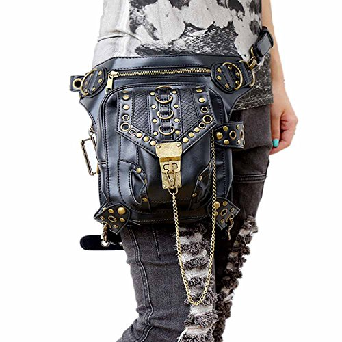 51UCVK7DmqL. SS500  - FiveloveTwo® Men Women Multi-purpose Tactical Drop Leg Arm Bag Pack Hip Belt Waist Messenger Shoulder Fanny Packs Steampunk Bag Wallet Purse Pouch Bag