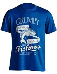 """Grandpa 'pesca–Camiseta Grumpy, el Man, The Myth, de la leyenda """"Pesca De Pesca Camiseta–idea de regalo para Grand Dad en su cumpleaños, Regalo de Navidad o día del padre., azul"""