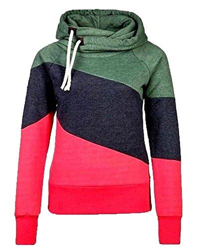 Sudadera Capucha Mujeres Empalme Color Hooded Sweatshirt