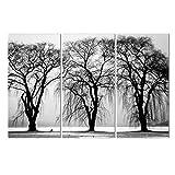 MXCHB 3 Baum Leinwand Ölgemälde Moderne Abstrakte Schwarz-Weiß Wandbilder Kunst Hd Druck Wohnzimmer Dekoration(NO Frame),40 * 80cm3pcs