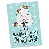 Mr. & Mrs. Panda Postkarte Einhorn Traurig - 100% handmade in Norddeutschland - Einhorn, Einhörner, Glitzer, Trösten. Freundschaft, Freunde, Liebe, Trauer, Grußkarte, Blume Postkarte, Geschenkkarte, Grußkarte, Klappkarte, Karte, Einladung