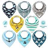Baby Dreieckstuch Lätzchen, Cooljoy 8 Pack 100% Baumwolle, Weiche & Absorbierende & Hypoallergene Baby Halstücher Drool Lätzchen für Sabbern und Zähne, Baby Shower Geschenkset für Jungen und Mädchen