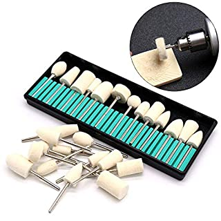 ChaRLes 12Pcs Wolle Burr Bits Drill Kit Maniküre Polieren Rad Rotary Schleifwerkzeug