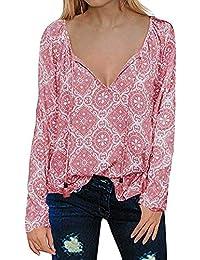 EUZeo Otoño Camiseta para Mujer Cuello V Blusas Camisa tee de Verano Floral Pullover  Manga Larga Tops Moda… 38cb8031b2638