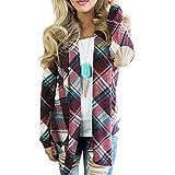 MEIbax Damen Plaid Print Langarm Ellenbogen Patch Drapierte Open Front Cardigan Sweater Strickjacke Top Herbst Winter Mantel Outwear