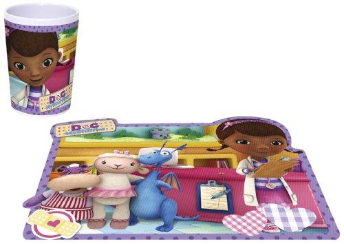 Joy Toy 748998+748921 - Disney Doc McStuffins Set - Melaminbecher, 200 ml, 7 x 9 cm und Platzmatte lentikular, 41 x 32 cm
