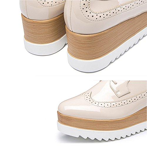 PENGFEI Stivaletti scarpa Primavera E Autunno Antiscivolo Soled Spesso Con Tacco Stringate Da Donna Alunno 2 Colori ( Colore : Beige , dimensioni : EU39/UK6/L:245mm ) Beige